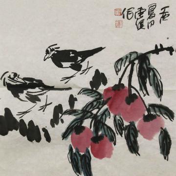 吴东俣国画花鸟秋林撷趣字画之家