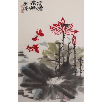 吴东俣四尺三开,竖幅国画花鸟荷塘清趣字画之家