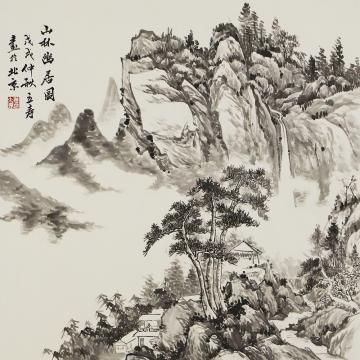 姜立寿四尺斗方国画山水山林幽居图字画之家