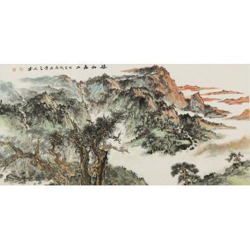张继博四尺整张,横幅国画山水稳如泰山字画之家