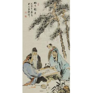 杨朝辉四尺整张,竖幅国画人物松下对弈字画之家