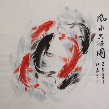 邵磊四尺斗方国画花鸟风水六顺图字画之家