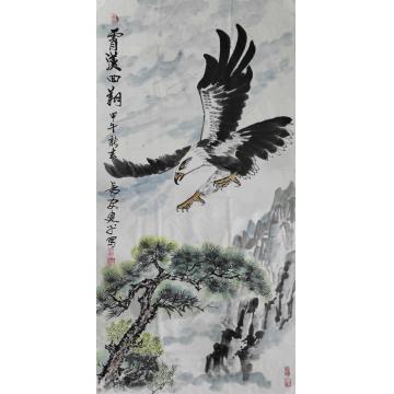 王建平四尺整张,竖幅国画动物霄汉回翔字画之家