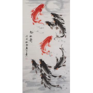 邵磊三尺整张,竖幅国画花鸟九如图字画之家