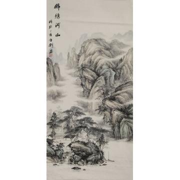 阳有剑四尺整张竖幅国画山水锦绣河山字画之家