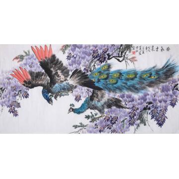 王道莲四尺整张横幅国画花鸟紫气东来字画之家