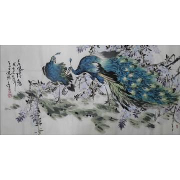 王孝华四尺整张,横幅国画花鸟春风得意字画之家