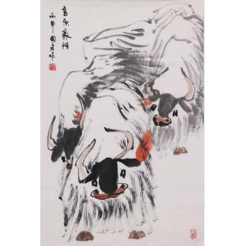 董国红四尺三开,竖幅国画动物高原豪情字画之家