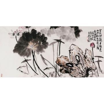 孙文四尺整张横幅国画花鸟咏莲图字画之家