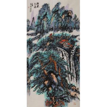 张新庆四尺整张,竖幅国画山水财运亨通字画之家