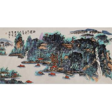 张新庆四尺整张,横幅国画山水财运亨通字画之家