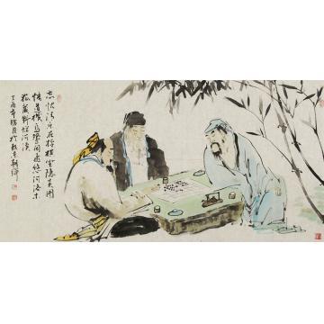 杨朝辉四尺整张横幅国画人物忘忧清乐字画之家