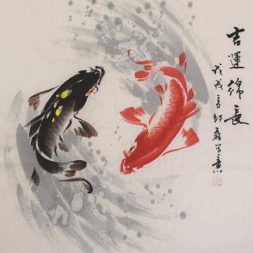 邵磊四尺斗方国画花鸟吉运绵长字画之家