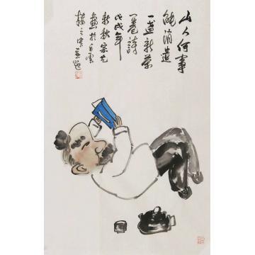 宗艺四尺三开,竖幅国画人物一盏新茶一卷诗字画之家