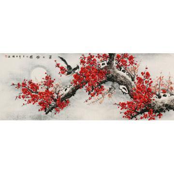 王颖小六尺整张,横幅国画花鸟喜上梅梢字画之家