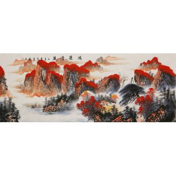 李章伟小六尺整张,横幅国画山水鸿运当头字画之家