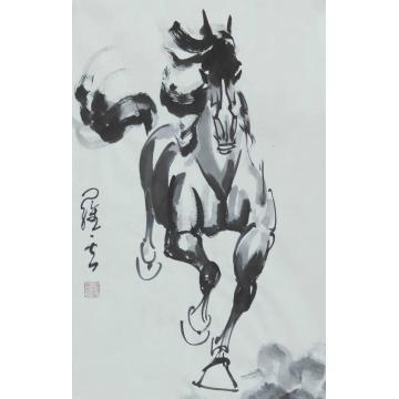 罗云四尺三开,竖幅国画动物一往无前字画之家