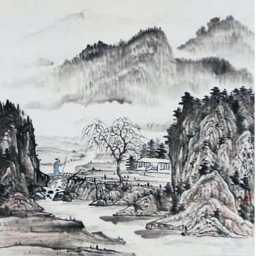 刘冠峰四尺斗方国画山水溪山访友字画之家