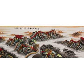 霍广昌小六尺整张,横幅国画山水长城雄风字画之家