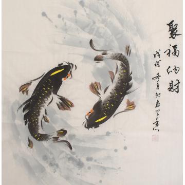 邵磊四尺斗方国画花鸟聚福纳财字画之家