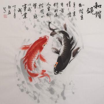 邵磊四尺斗方国画花鸟和谐颂字画之家