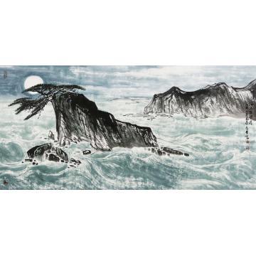 刘铸泰四尺整张,横幅国画山水海上生明月字画之家