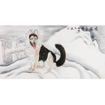 赵贵芝四尺整张横幅国画动物家园字画之家