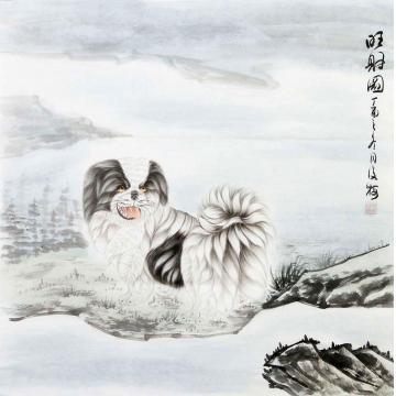 翟俊梅四尺斗方国画动物旺财图字画之家