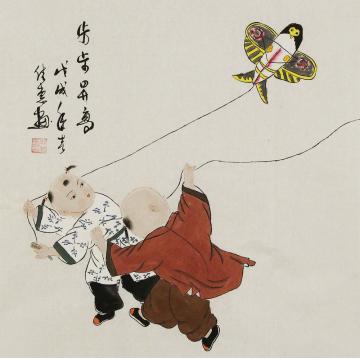 周佳惠三尺斗方国画人物步步升高字画之家