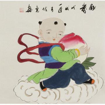 周佳惠三尺斗方国画人物献寿字画之家