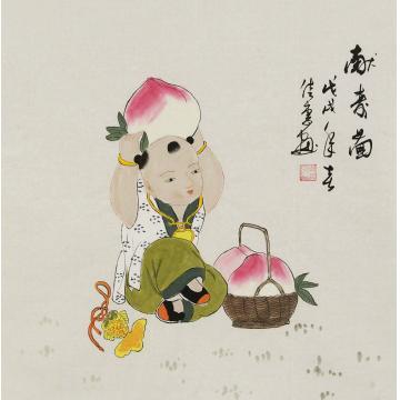 周佳惠三尺斗方国画人物献寿图字画之家