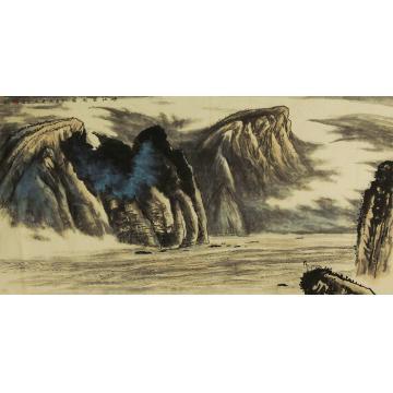 吴金龙四尺整张,横幅国画山水峡江云起图字画之家