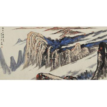 吴金龙四尺整张横幅国画山水极目千万里字画之家