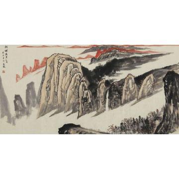 吴金龙四尺整张,横幅国画山水朝晖万里字画之家