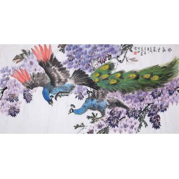 王道莲四尺整张,横幅国画花鸟紫气东来字画之家