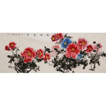朱秋凤小六尺整张,横幅国画花鸟花开富贵字画之家