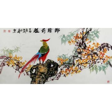 曲胜利四尺整张,横幅国画花鸟锦绣前程字画之家