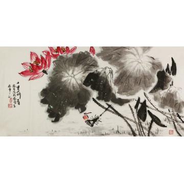 王孝华四尺整张横幅国画花鸟十里荷香字画之家