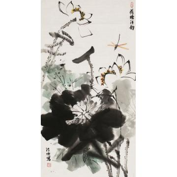 郭诗迪三尺整张,竖幅国画花鸟荷塘清韵字画之家
