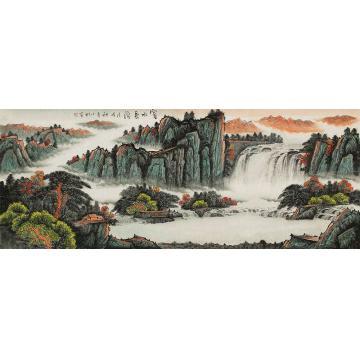 蒋小松小六尺整张,横幅国画山水富水长流字画之家