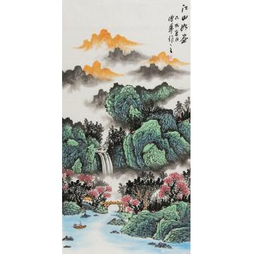朱传华四尺整张,竖幅国画山水江山如画字画之家