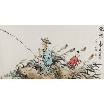 姜建新四尺整张,横幅国画人物渔乐图字画之家
