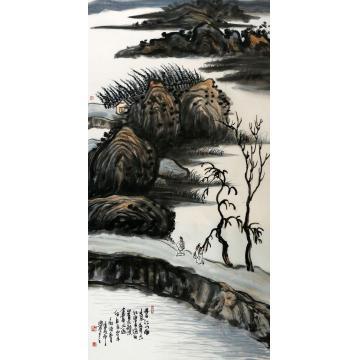 王家璇四尺整张,竖幅国画山水迟日江山丽字画之家