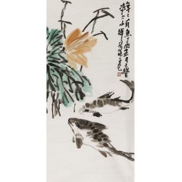 路晖三尺整张,竖幅国画花鸟年年有余字画之家
