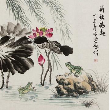 王连启四尺斗方国画花鸟荷塘清趣字画之家