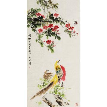 刘彦彬四尺整张,竖幅国画花鸟相依字画之家