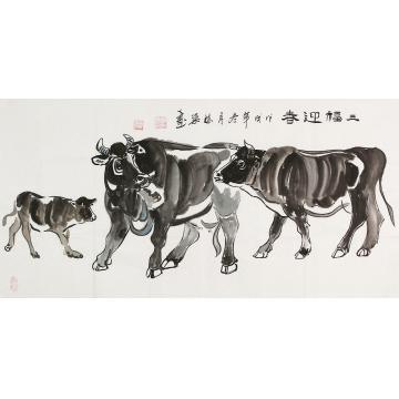 郭栋梁四尺整张横幅国画动物三福迎春字画之家