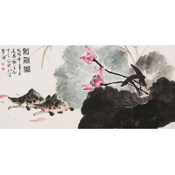 向士平四尺整张横幅国画花鸟和为贵字画之家