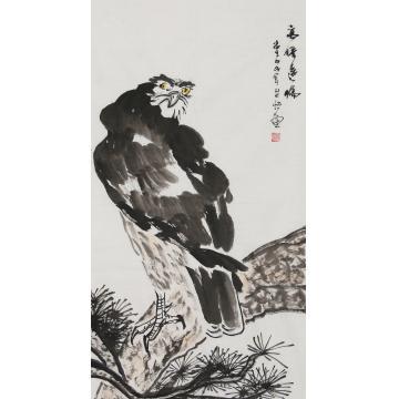 程芷怡三尺整张,竖幅国画动物高瞻远瞩字画之家
