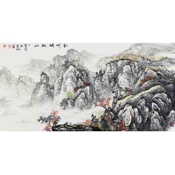 肖枫四尺整张,横幅国画山水红叶映秋山字画之家